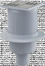 Трап вертикальный 105х105/50, нержавеющая решетка, гидрозатвор - мокрый, APV2
