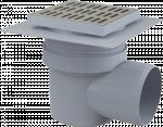 Трап горизонтальный 150 × 150/110, нержавеющая решетка, воротник – 2-х уровневая изоляция, гидрозатвор – мокрый APV12