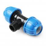 Unio Тройник компрессионный с наружной резьбой для труб ПНД пластиковый