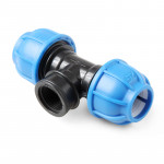 Unio Тройник компрессионный с внутренней резьбой для труб ПНД пластиковый