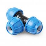 Unio Тройник компрессионный для труб ПНД пластиковый
