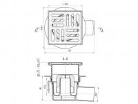 Трап горизонтальный 120 х 120/50, нержавеющая решетка, регулируемый, сухой затвор АНИ TQ5614