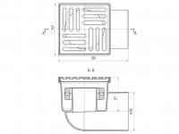 Трап горизонтальный 150 х 150/110, нержавеющая решетка, нерегулируемый, сухой затвор АНИ TQ1112