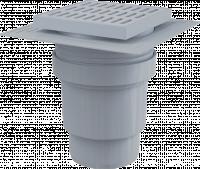 Трап вертикальный 150 х 150/110, пластиковая решетка, воротник – 2-х уровневая изоляция, гидрозатвор – мокрый, APV11