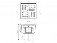 Трап вертикальный 100 х 100/50, пластиковая решетка, нерегулируемый АНИ ТА5204