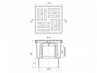 Трап вертикальный 150 х 150/110, пластиковая решетка, нерегулируемый АНИ ТА1210