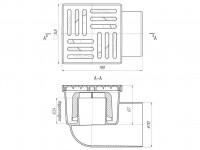 Трап горизонтальный 150 х 150/110, пластиковая решетка, нерегулируемый АНИ ТА1110