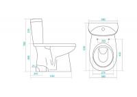 Унитаз-компакт Анимо вертикальный выпуск, нижний подвод воды, в комплекте с двухуровневой армтурой и сиденьем дюропласт