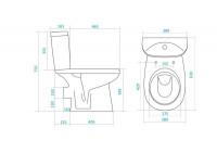 Унитаз-компакт Анимо горизонтальный выпуск, в комплекте с одно-режимной арматурой и сиденьем