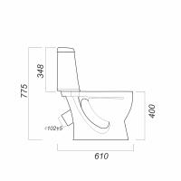 Унитаз-компакт Идеал (Sanita) косой выпуск, нижний подвод воды, в комплекте с арматурой и сиденьем