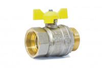 Кран шаровый латунный для газа GAS LD Pride ВР-НР, ручка - бабочка