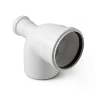 Отвод с выходом на 50 для малошумной канализации Polytron Stilte (фронтальный) белый