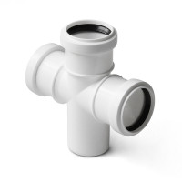 Крестовина одноплоскостная для малошумной канализации Polytron Stilte (белая)