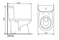 Унитаз-компакт Суперкомпакт, вертикальный выпуск, нижний подвод воды, в комплекте с арматурой и сиденьем