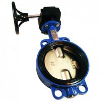 Затвор поворотный межфланцевый тип 017W (корпус- чугун, диск - нержавеющая сталь) Dendor с редуктором