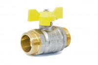 Кран шаровый латунный для газа GAS LD Pride НР-НР, ручка - бабочка