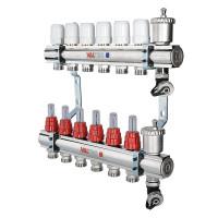 Коллекторный блок латунный с термостатическими клапанами и расходомерами