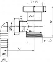 """Вставка с отводом для стиральной машины 1 1/2""""х1 1/2"""" АНИ М110"""